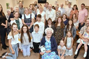Marion Needham celebrates her 100th birthday at the Leyland Pentecostal Church with friends and family