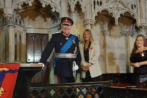 Karen receives her BEM from the Lord Lieutenant of Lancashire, Lord Shuttleworth
