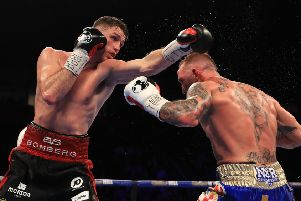 MANCHESTER, ENGLAND - DECEMBER 10:  Callum Smith (L) of Liverpool in action against Luke Blackledge of Darwen during their British Super-Middleweight Championship fight at Manchester Arena on December 10, 2016 in Manchester, England.  (Photo by Richard Heathcote/Getty Images)
