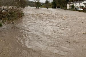 Deep floodwaters in Whalley yesterday