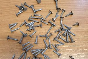 Police found these nails on Mitton Road, Whalley
