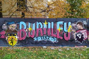 The Burnley FC fan mural created by Artem aka 'Johnny Napricole' in Saint Petersburg, Russia.