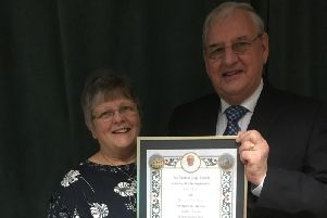 Golden Wedding couple Jim and Olive Doyle with their papal blessing to mark their anniversary