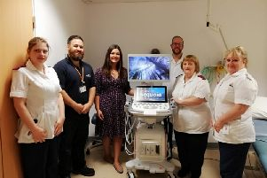ELHT radiology staff with one of four new ACUSON Sequoia ultrasound machines