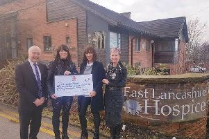 Hospice Chairman Graham Parr, Leanne Rogers, Lauren Holmes from Sarah Layton jewellers and hospice Chief executive, Lyn Stevenson