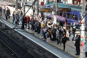 Commuters waiting at Preston station