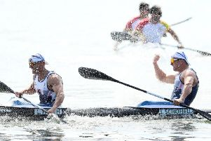 Great Britain's Liam Heath (left) and Jon Schofield have won a silver medal in the men's kayak double 200 metres on the thirteenth day of the Rio Olympics Games, Brazil. PRESS ASSOCIATION Photo. Picture date: Thursday August 18, 2016. Photo credit should read: Martin Rickett/PA Wire. EDITORIAL USE ONLY