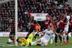 Ashley Barnes tries to force the ball in at Bournemouth on Saturday