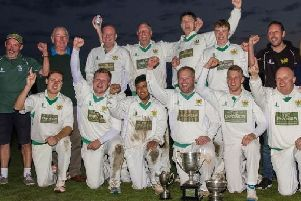Clitheroe celebrate their final title in the Ribblesdale Cricket League in 2016 ahead of their move to the Lancashire League. Outgoing chairman Robin Sharp is pictured on the back row, second from the left