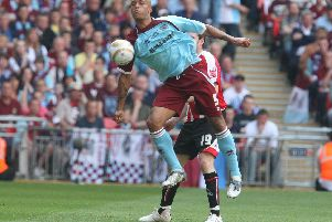 Match action from Wembley Stadium a decade ago as the Clarets saw off the Blades in the Championship play-off final