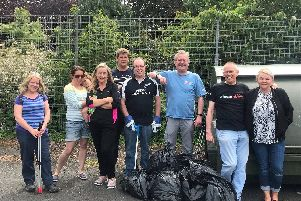 Members of Clean Up Clitheroe in action with founder members Jeanette Pateman-Shepherd (far right) and Gary Kent (third from right)