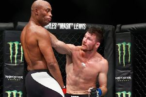 Michael Bisping in action against legendary UFC star Anderson Silva