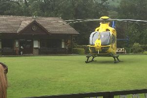 The air ambulance helicopter landing in Sabden yesterday