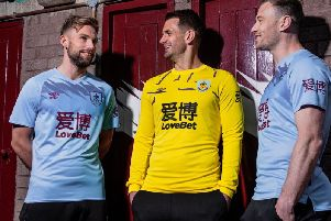 Charlie Taylor, Tom Heaton and Ashley Barnes in the new away strip
