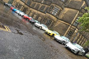 The high-performance sports car line up outside Stonyhurst College