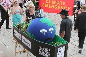 Climate change campaigners in Chesterfield in the summer.