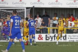 Match action from Sutton United v Chesterfield.