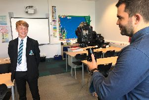 Shirebrook Academy student Keegan Darby being interviewed by the British Council for a video promoting foreign exchange trips.