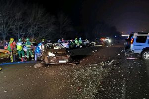 Derbyshire Roads Policing Unit posted this image from the scene on social media. A spokesperson said there were no reports of serious injuries. Photo @DerbyshireRPU.