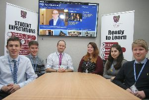 Brookfield School politics students and staff ready for the BBC Any Questions session on Friday, from left Jack Barker-Sabido, Ben Thompson. tutors Simon Cliff and Rosie Nutting, Amelia Hardwick and Jack Newton.
