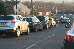 Parking problems outside Hady Primary School.