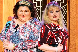Cheryl Fergison and Linda Nolan in Menopause the Musical at Chesterfield's Pomegranate Theatre on May 27.