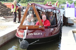 Staveley Basin festival, civic guests including MP Natascha Engel, county council leader Anne Western and the local mayors take the first trip through the new lock