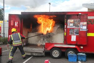 NDET Staveley Fire Day    Chris Lofley showing the dangers of putting water on a chip pan fire