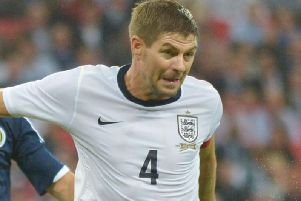 Steven Gerrard in action for England.