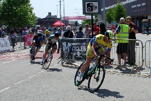 Steve Paterson drives hard on his way to fourth place and promotion to Category Two level on the street circuit at Doncaster.