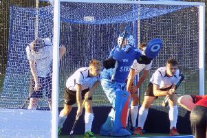 Chesterfield line up to defend a penalty corner during their win at University of Warwick.