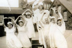 Retro - Claycross girls school. Angels nativity play 1943.'In photo - Nancy Robinson, Maisie Kenny, Jean Cross, Hilda Holmes, Betty Minney, Joan Claris, Kitty Fletcher and Ethl Armstrong.''Picture sent in by Kitty Spencer.