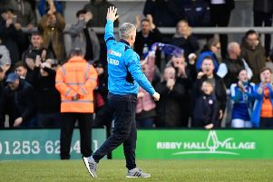 Chesterfield manager John Sheridan salutes the large group of travelling fans after their 0-1 win at AFC Fylde: Picture by Steve Flynn/AHPIX.com, Football: Vanarama National League match AFC Fylde -V- Chesterfield FC at Mill Farm, Kirkham, Lancashire, England on copyright picture Howard Roe 07973 739229