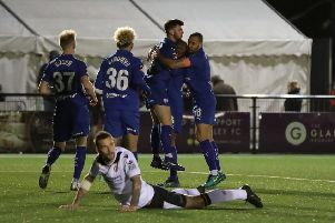 Picture by Shibu Preman / ahpix.com;'Football; Season 2018/19; Nation League; Conference premier; Vanarama National League; Chesterfield vs Bromley;'7:45pm Tuesday;  12th March;'Hayes Lane; Bromley stadium;'Chesterfield midfielder Joe Rowley (16) goal celebration'Copyright picture; 'Howard Roe; '07973 739229;