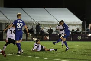 Picture by Shibu Preman / ahpix.com;'Football; Season 2018/19; Nation League; Conference premier; Vanarama National League; Chesterfield vs Bromley;'7:45pm Tuesday;  12th March;'Hayes Lane; Bromley stadium;'Chesterfield midfielder Joe Rowley (16) goal scoring shot'Copyright picture; 'Howard Roe; '07973 739229;