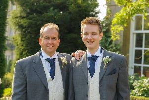 Dave Hall and his son Liam Hall. The picture was taken at Liam's wedding, a few years before Dave was diagnosed with cancer.