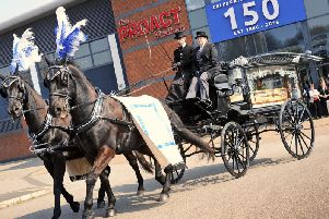 The horse-drawn funeral carriage at Chesterfield FC's Proact Stadium