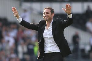Frank Lampard celebrates with the Rams fans. Photo by Jez Tighe.