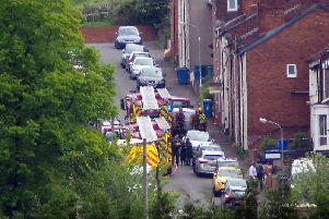Two fire engines are currently at the houseon Stanley Street, Chesterfield.