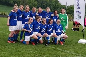 Chesterfield Ladies with their fourth trophy of the season