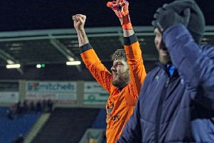Will Evans pulled on the goalkeeper jersey to save a penalty (Pic: Tina Jenner)
