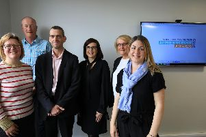 Judges were Rebecca Fielding,  Gradconsult; Neil Williams,Amazon (back); Rob Hollingworth,  JPIMedia; Michaela Bellis, NOCN; Amy Walker,  Openreach (right)  andHannah Wignall, Openreach (not pictured).'Also pictured is Haroldine, Lockwood, JPIMedia Event Manager