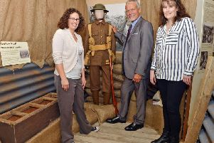 Chesterfield museum launch of trench experience. Maria Barnes museum collections officer, Cllr Steve Bruntchair WW1 commeration group and Alyson Barnes tourism, museums and events manager.