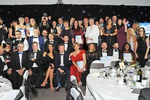Winners and runners-up join together for a group photograph at the end of the 2018 awards ceremony