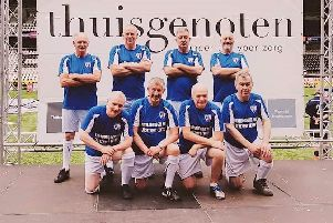 The Chesterfield Senior Spireites walking football team in Holland at the Almelo City Cup
