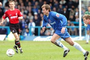 Shane Nicholson in action for Town