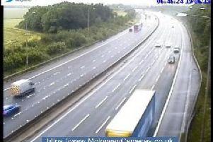 Junction 27 of the M1 southbound this morning.