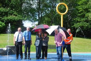The opening of the splash pad.