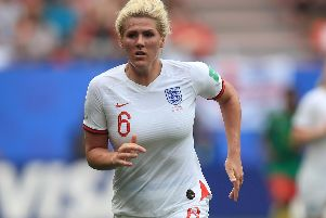 Millie Bright playing for England against Cameroon. Photo -  Marc Atkins/Getty Images
