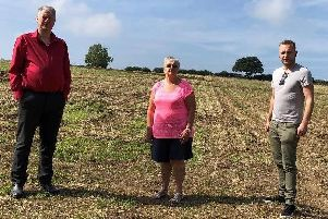 Councillors David Hancock, Pam Windley and Ross Shipman - who are opposed to the plans - at the Ankerbold Road site.